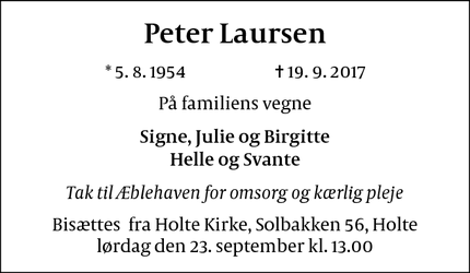Dødsannoncen for Peter Laursen - Holte