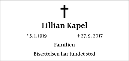 Dødsannoncen for Lillian Kapel - Charlottenlund