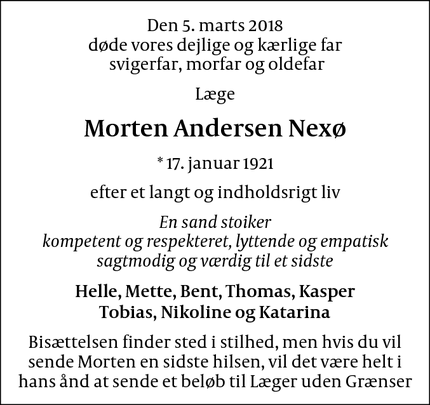 Dødsannoncen for Morten Andersen Nexø - Kongsted
