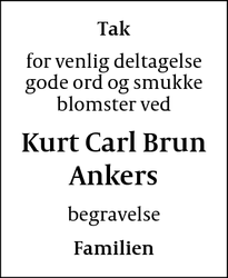 Dødsannoncen for Kurt Carl Brun Ankers - Christiansø