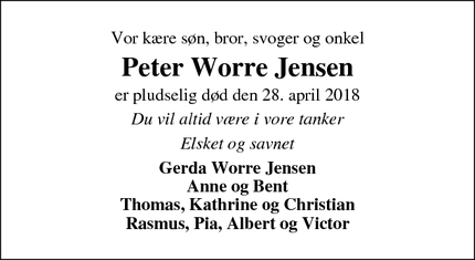 Dødsannoncen for Peter Worre Jensen - Hørning