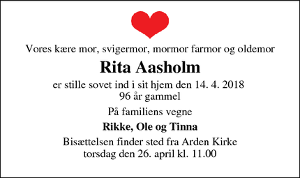 Dødsannoncen for Rita Aasholm - Arden