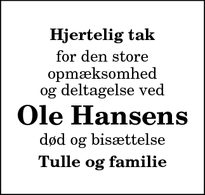 Taksigelsen for Ole Hansens - Thisted