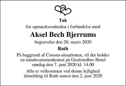 Taksigelsen for Aksel Bech Bjerrums - Ribe