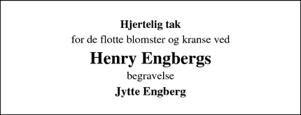 Taksigelsen for  Henry Engbergs - Fredericia