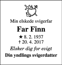 Dødsannoncen for Far Finn  - Skanderborg