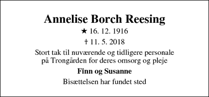 Dødsannoncen for Annelise Borch Reesing - Vejby