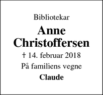Dødsannoncen for Anne Christoffersen - Rødvig, Stevns