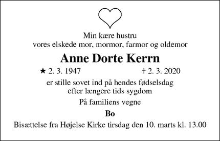 Dødsannoncen for Anne Dorte Kerrn - Lille Skensved