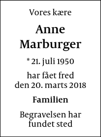 Dødsannoncen for Anne Marburger - Hundested