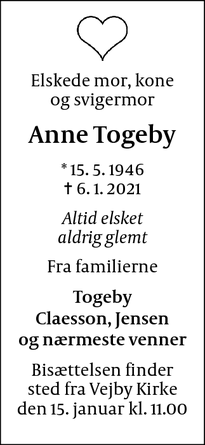Dødsannoncen for Anne Togeby - Kastrup