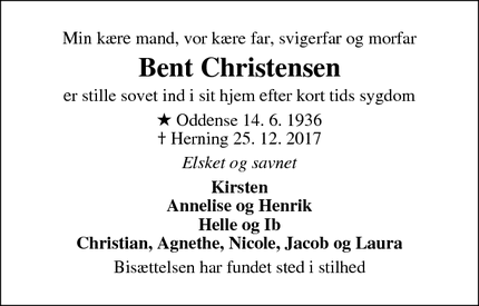 Dødsannoncen for Bent Christensen - Herning