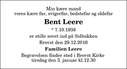 Dødsannoncen for Bent Leere - Brovst