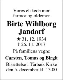 Dødsannoncen for Birte Wihlborg Jandorf - Virum