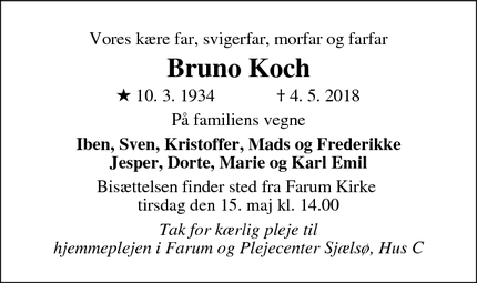 Dødsannoncen for Bruno Koch - Farum