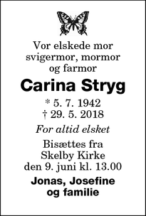 Dødsannoncen for Carina Stryg - Skelby