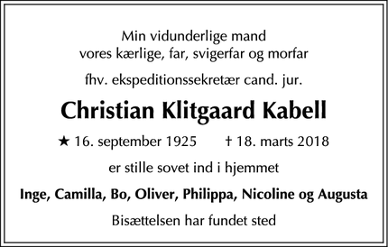 Dødsannoncen for Christian Klitgaard Kabell - Rungsted Kyst