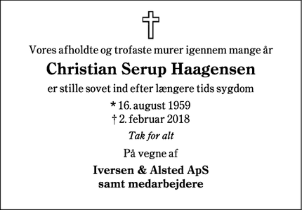 Dødsannoncen for Christian Serup Haagensen - Bramming