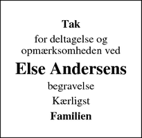 Taksigelsen for Else Andersens - Kloster
