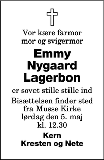 Dødsannoncen for Emmy Nygaard Lagerbon - Nysted