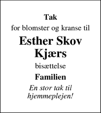 Taksigelsen for Esther Skov Kjærs - Daugård