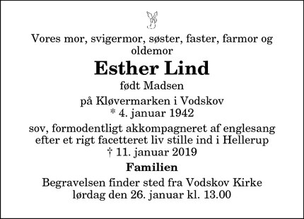 Dødsannoncen for Esther Lind - Hellerup