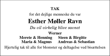 Taksigelsen for Esther Møller Ravn  - Mammen