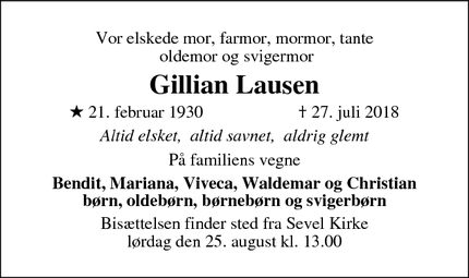 Dødsannoncen for Gillian Lausen - Lockerbie
