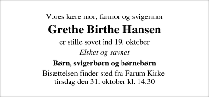Dødsannoncen for Grethe Birthe Hansen - Farum