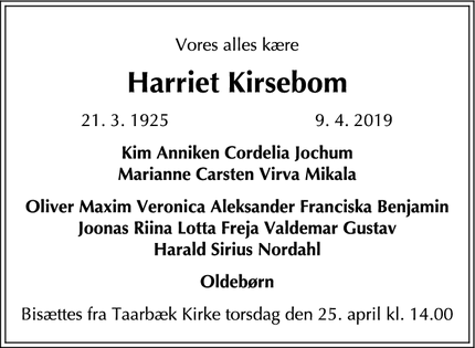 Dødsannoncen for Harriet Kirsebom - Risskov