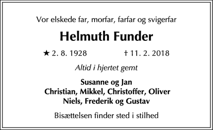 Dødsannoncen for Helmuth Funder - Rungsted Kyst