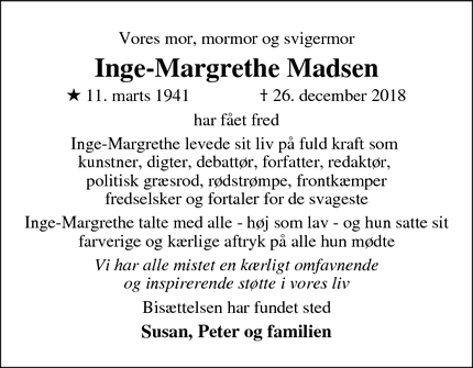 Dødsannoncen for Inge-Margrethe Madsen - Farum