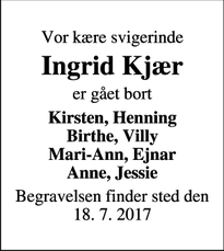 Dødsannoncen for Ingrid Kjær - Bonnet