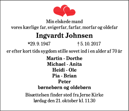 Dødsannoncen for Ingvardt Johnsen - Sædding