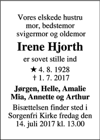 Dødsannoncen for Irene Hjorth - Virum