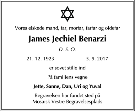 Dødsannoncen for James Jechiel Benarzi - Holte
