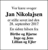 Dødsannoncen for Jan Nikolajsen - Rødding