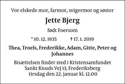 Dødsannoncen for Jette Bjerg - Farum