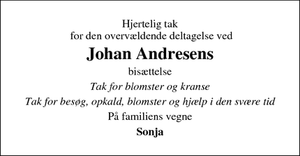 Taksigelsen for Johan Andresens - Grindsted