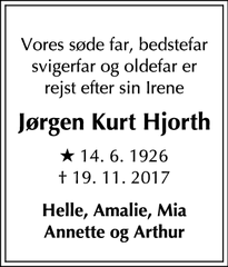 Dødsannoncen for Jørgen Kurt Hjorth - 2830 Virum