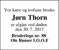 Dødsannoncen for Jørn Thorn  - Hørning