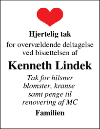 Taksigelsen for Kenneth Lindek - Hammel