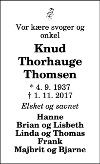 Dødsannoncen for Knud Thorhauge Thomsen - Thisted