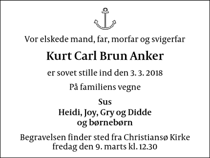 Dødsannoncen for Kurt Carl Brun Anker - Christiansø