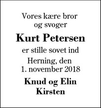 Dødsannoncen for Kurt Petersen - Herning