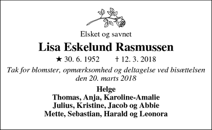 Dødsannoncen for Lisa Eskelund Rasmussen - Næstved
