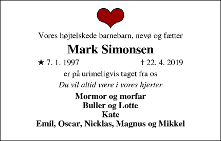 Dødsannoncen for Mark Simonsen - Horsens