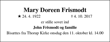 Dødsannoncen for Mary Doreen Frismodt - Skørping