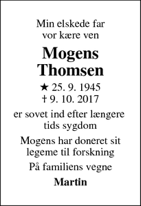 Dødsannoncen for Mogens Thomsen - Farum