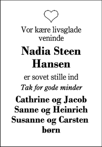 Dødsannoncen for Nadia Steen Hansen - Herning
